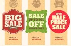 Set Of Vintage Big Sale Price Tags Vector 03