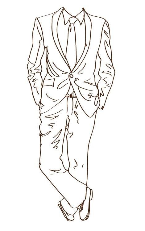 Suit and Tie Sketch Vector