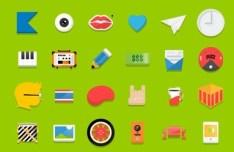 24 Random Flat Icons Vector