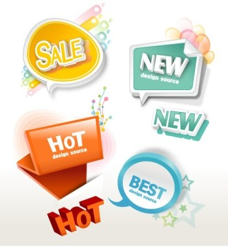 Lovely Retail Sale Labels & Stickers Vector 01