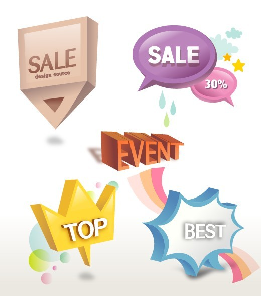 Lovely Retail Sale Labels & Stickers Vector 04