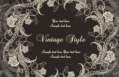 Dark Royal Vintage Floral Frame Vector 02