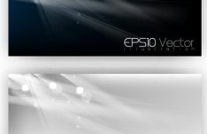 Elegant Dark Banners with Bright Abstract Backgrounds Vector 02