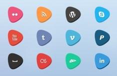 Creative Social Media Flat Icons Set (PSD Included)