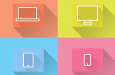 Flat Long Shadow Device Icons PSD
