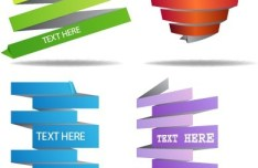 Set Of Colored Ribbon Style Labels Vector