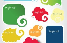 Set of Creative Cloud Speech Bubbles Vector