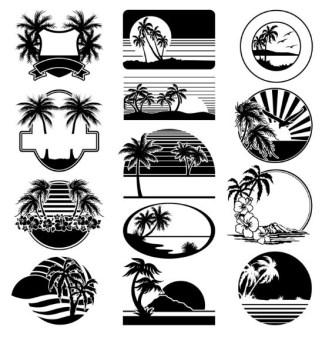Set Of Black Summer Vacation Beach Badges Vector
