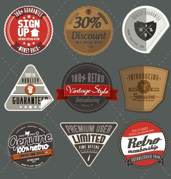 Set Of Retro Style Badges with Ribbons Vector