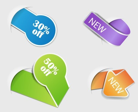 Set Of Vector Colored Origami Sale Labels