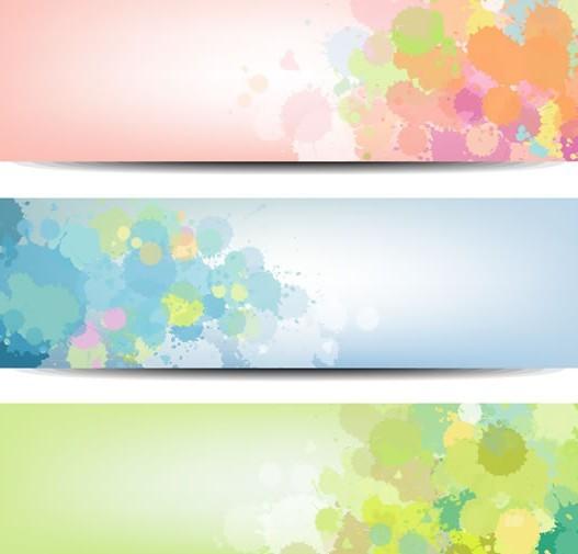 Set of Vector Paint Splash Banners