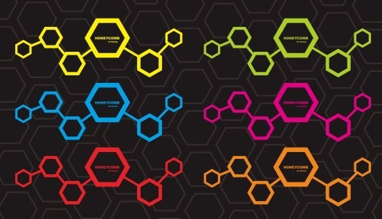 Colored Honeycomb Vector Background