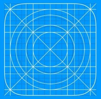 Vector iOS 7 Icon Grid Templage
