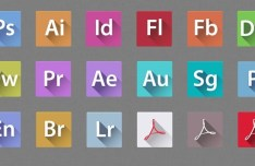 Flat Long Shadow Adobe Creative Suit 6 Icons