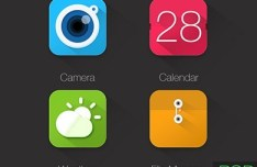 4 Colored App Icons PSD