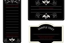 Vintage Dark Floral Card Design Vector 01