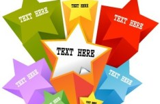 Colorful Stars For Text Label Sticker Vector
