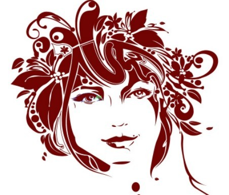 Creative Flower Woman Head Illustration Vector 03