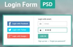 Flat Green Border Login Form PSD