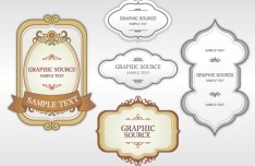 Set Of Clean & Retro Label Stickers Vector 05