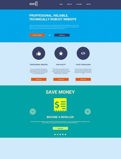 Flat Website Design PSD