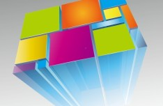 Colorful 3D Squares Vector