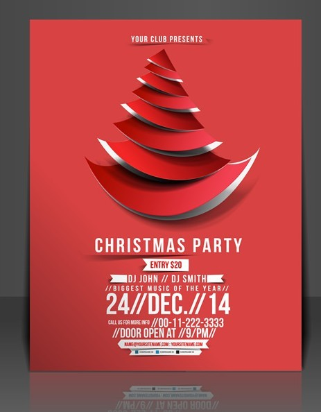 Creative Christmas Party Club Poster  Flyer Template Vector 01