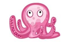 Cute Pink Octopus Vector