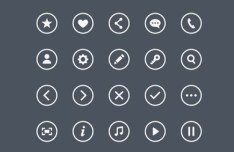 Round Border Icons Set PSD