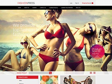 Fashionpress Corporate & E-commerce Website Template PSD