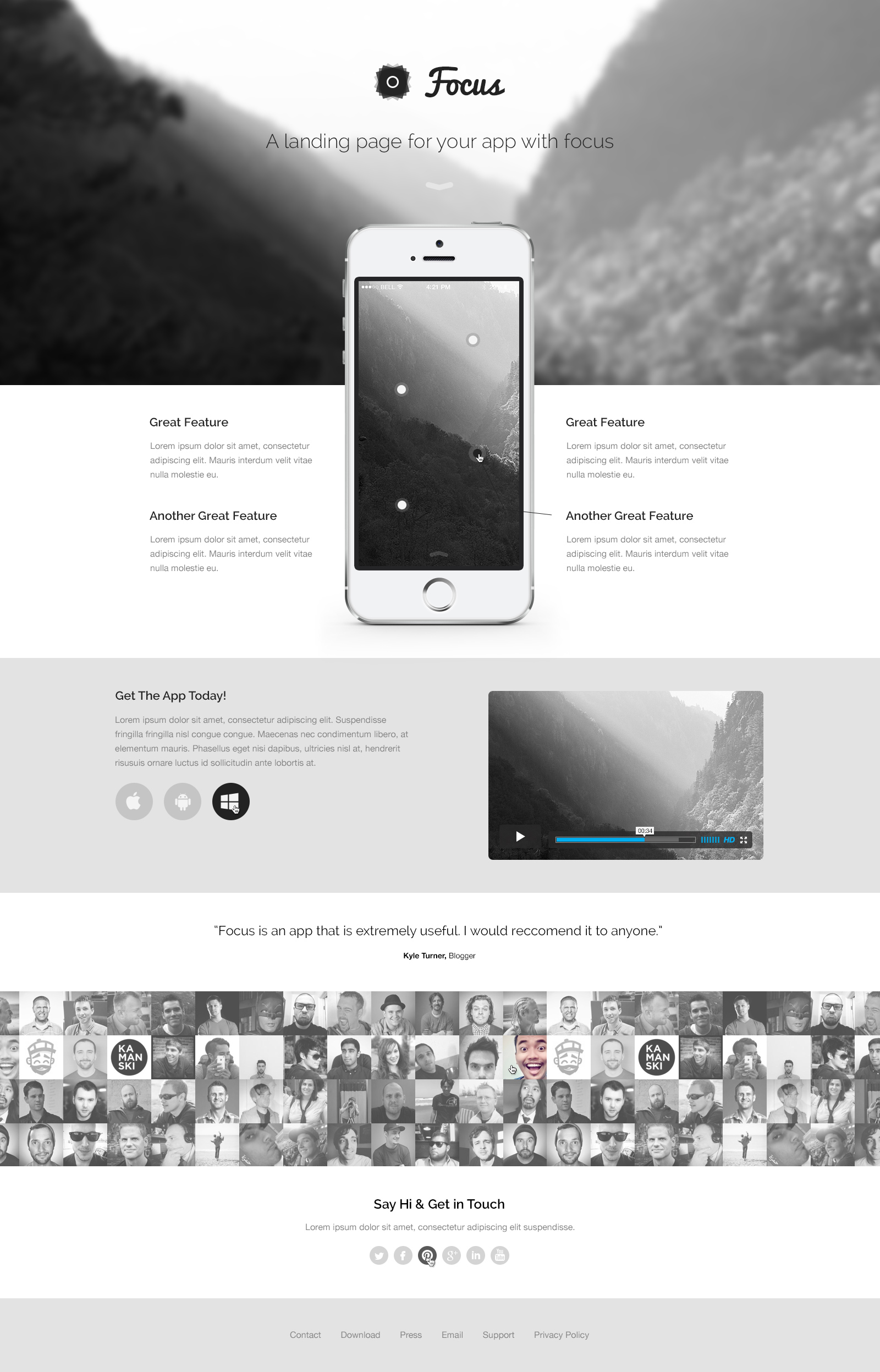 Free Focus - A Responsive & Fashion Landing Page Template PSD - TitanUI