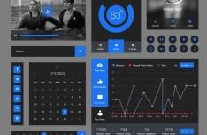 Behance Style Dark and Blue Web UI Kit PSD