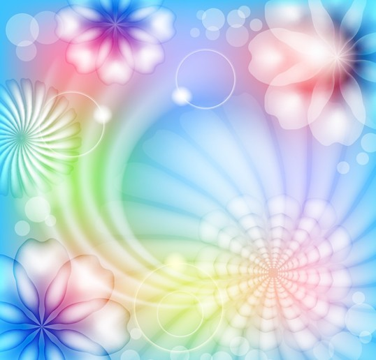 Fantasy & Colorful Flower Background Vector 02