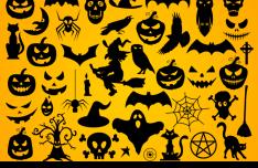 Set Of Dark Halloween Shapes Vector
