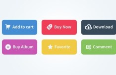 6 Colorful Flat Web Buttons PSD