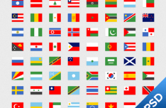 Simple National Flag Icon Set 02 PSD