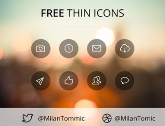 Simple Thin Line Icons with Round Backgrounds PSD