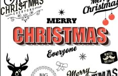 Merry Christmas & Happy New Year Text Styles Vector 01