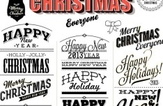 Merry Christmas & Happy New Year Text Styles Vector 02