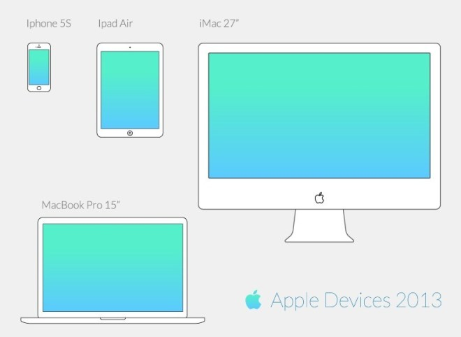 Vector Apple Wireframe Devices
