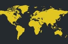 Yellow World Map Vector