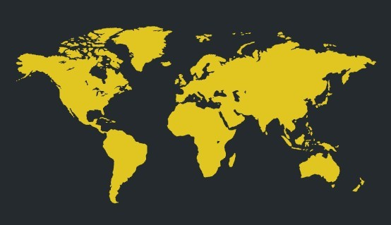 Yellow World Map Vector