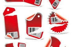Set Of Red Vector labels & Stickers For Holiday Sale 04