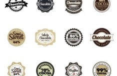 Set Of Vector Chocolate Badges