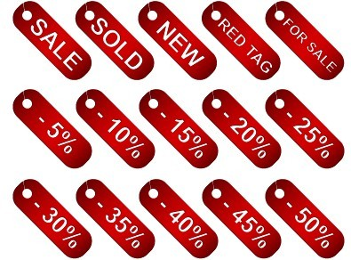 Set Of Vector Red Discount Tags