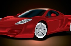 Red Ferrari Realistic Sports Car Vector