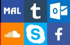 Set Of Social Media Logos Vector PSD