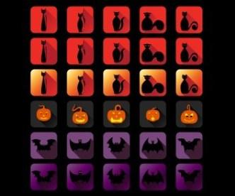 Set Of Flat Long Shadow Halloween Icons Vector