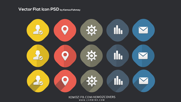 5 Flat Icons (3 Versions PSD)
