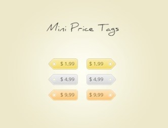 Set Of Mini Colored Price Tags PSD